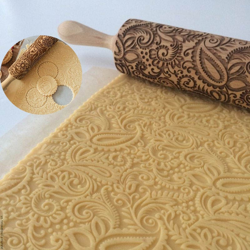 Wooden Paisley Floral Christmas Rolling Pin Engraved Rolling Pin Embossed New