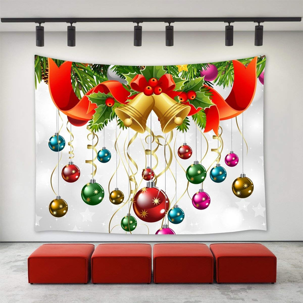 Hanging Christmas Decorations Wall.Lbkt Christmas Decor Tapestry Wall Hanging Christmas Jingling Bell Wreath Colorful Balls Ornaments Happy New Year Xmas Christmas Day Wall Tapestries
