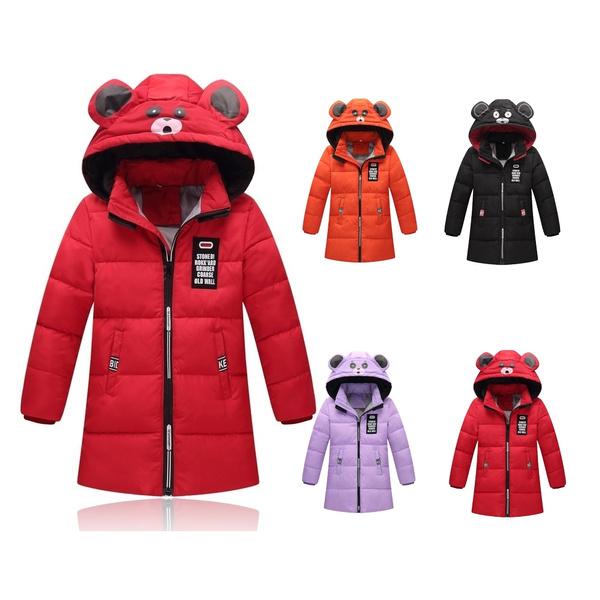 Winter neue Kinder Daunenjacke Cartoon mit Kapuze Jacken junge Mädchen warme Daunenjacke Oberbekleidung Schneeanzug