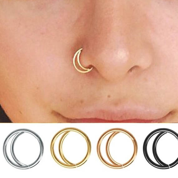 Nose Ring Rose Gold Moon Nose Ring Gold Nose Ring Rose Gold Septum Ring Daith Earring Nose Piercing Nose Ring Hoop Nose Stud Wish