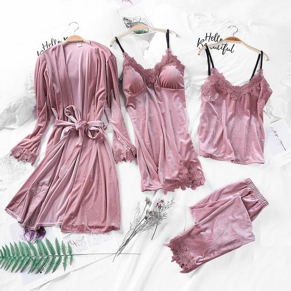 velvet, Lingerie Sets, womenpajamassuit, Women's Fashion