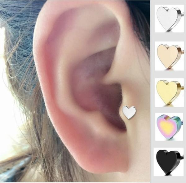 2Pcs Heart Earrings Helix Ear Piercing Tragus Cartilage Piercing Ear Studs