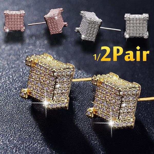 297738094ca37 2pcs/4pcs Fashion Iced Out Bling Stud Earrings Jewelry Earrings for Men  Hip-hop Gold Earrings Silver Earrings Diamond Square Earring
