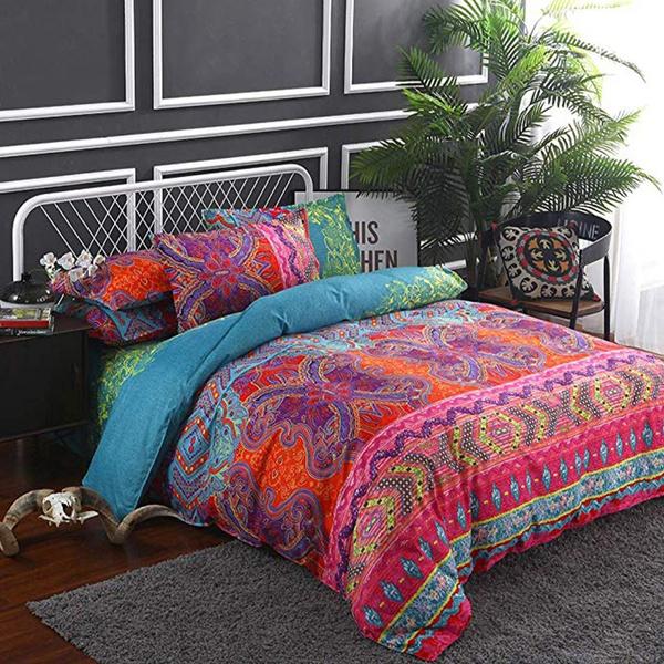 bohemianduvetcoverset, Flowers, quiltcover, Bedding
