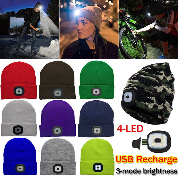 Unisex Beanie Hat LED With USB Rechargeable Battery 5 Hours High Powered Light*