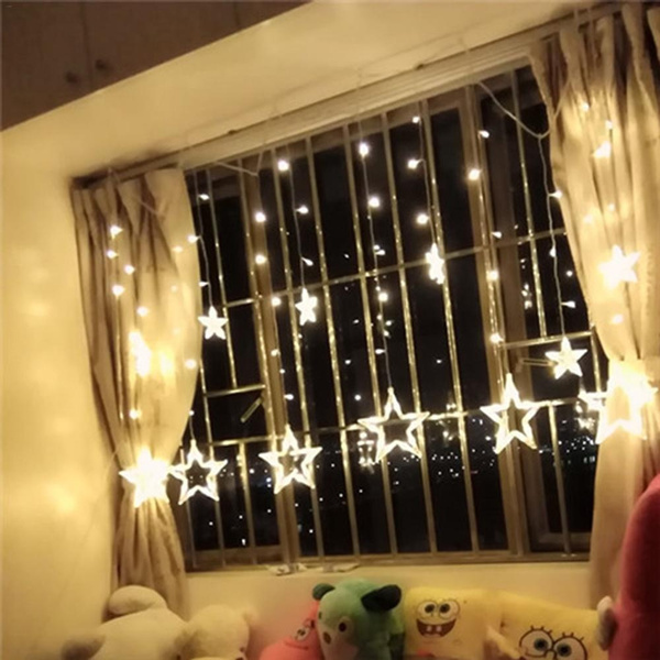Led star lights dormitory decorative lights starry bedroom curtain lamp  light string battery usb dual-use remote control