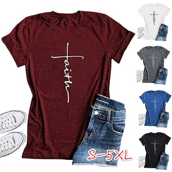 9ee6d693 Plus Size Women Fashion Cross Faith Print Religious T-Shirt Summer ...