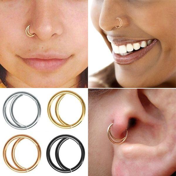 2pc Moon Nose Ring Hoop Boho Nose Ring Septum Ring Nose Piercing