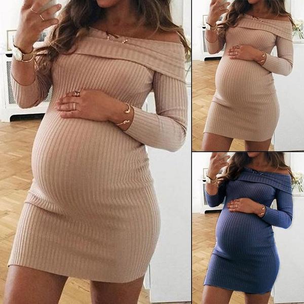 2ce85289f591b Maternity Sweater Dress Pregnant Women Fashion Long Sleeve Off Shoulder  Knitted Sweater Dress Solid Color Maternity Dress Elastic Pregnancy Mini  Dress ...
