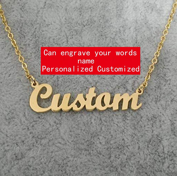 Personalized Custom Any Name Choker Necklace 18K Gold Plated Handwriting  Customized Nameplate Necklace