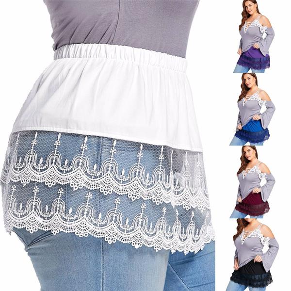 lace trim, Plus Size, skirts female, Lace