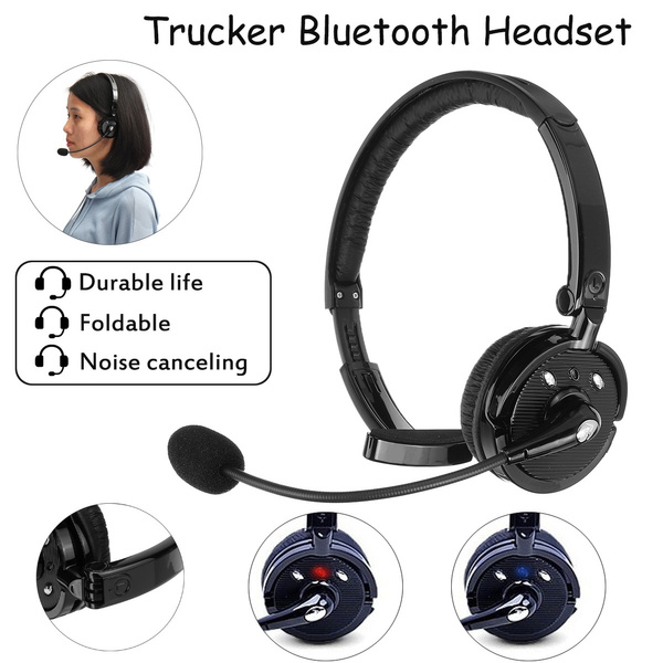 Hifi Noise Canceling Trucker Professional Bluetooth Headset Cell Phone Headset With Microphone Office Wireless Headset Over The Head Earpiece On Ear Car Bluetooth Headphones For Cell Phone Skype Truck Driver Call Center