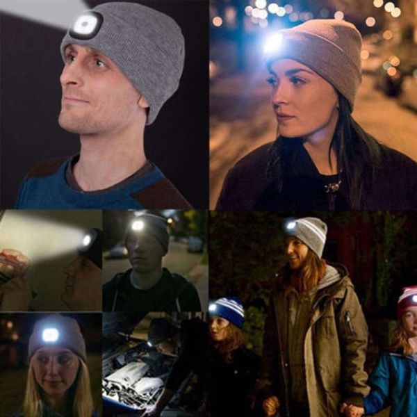 Unisex LED Beanie Hat With USB Rechargeable Battery 5 Hours High Powered Light