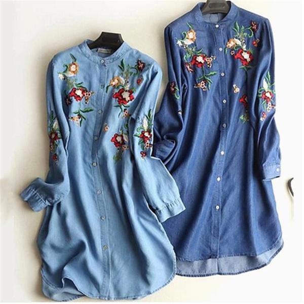 Plus Size, Long Sleeve, Shirt, Dress