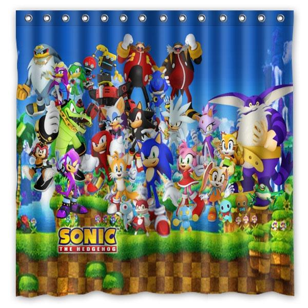 Sonic The Hedgehog Pattern Waterproof Bathroom Decorative Shower Curtain Mildew Resistant Polyester Fabric Bath Curtains 180 180cm Wish
