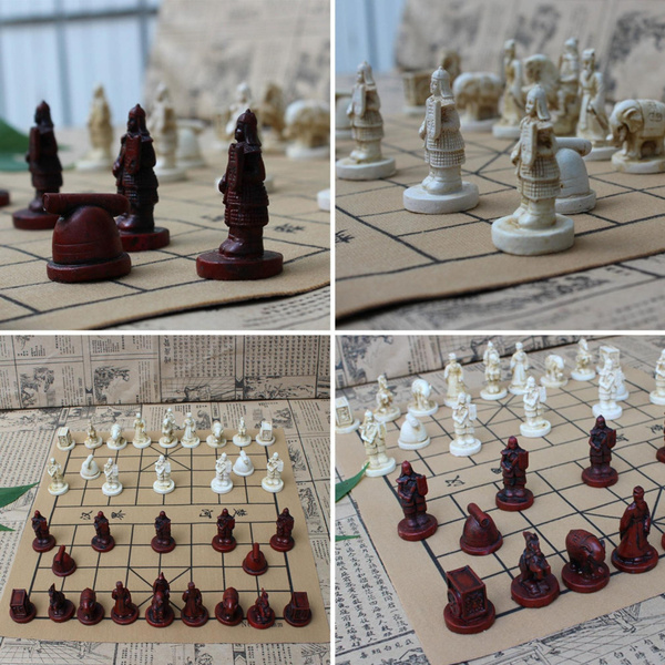 fashion Vintage Chinese Terra Cotta Warriors Chess Game Collectibles  Entertainment Gifts