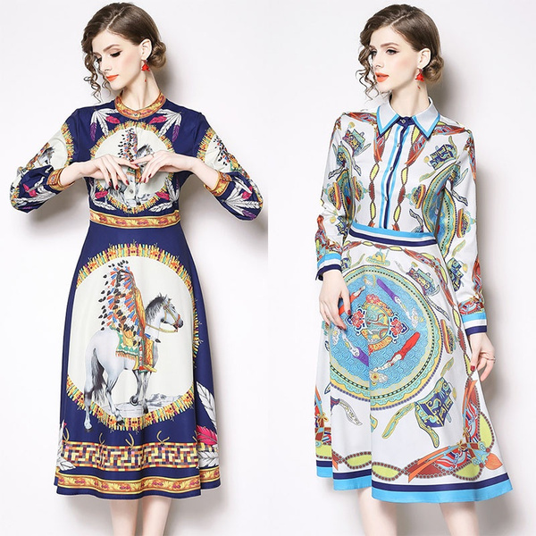 3693bf4f84abd European and American Fashion 2019 Spring Summer New Long-sleeved Dress  High waist Printing Long Dress