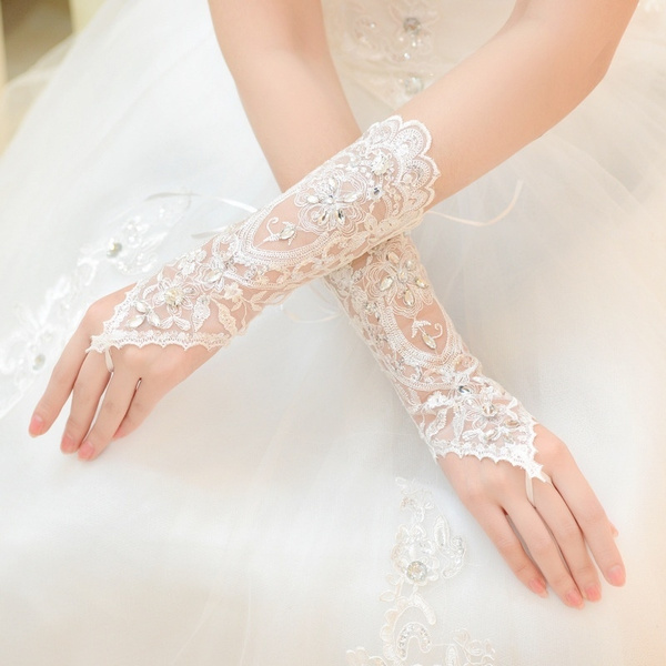 0d7cab2fe09 Bride Wedding Dress White Gloves Rhinestone Sequins Short Gloves ...