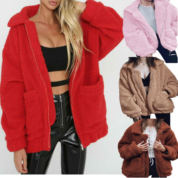 Plus Size Fleece Faux Shearling Fur Jacket Coat Women Autumn Winter Plush Warm
