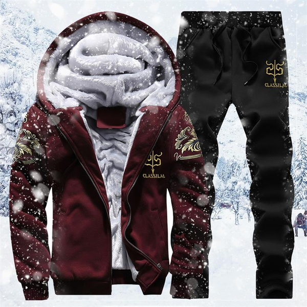Two-Piece Suits, Winter, Fleece Hoodie, track suit