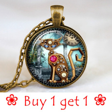 steampunkcat, cabochon, bronzechainnecklace, Jewelry
