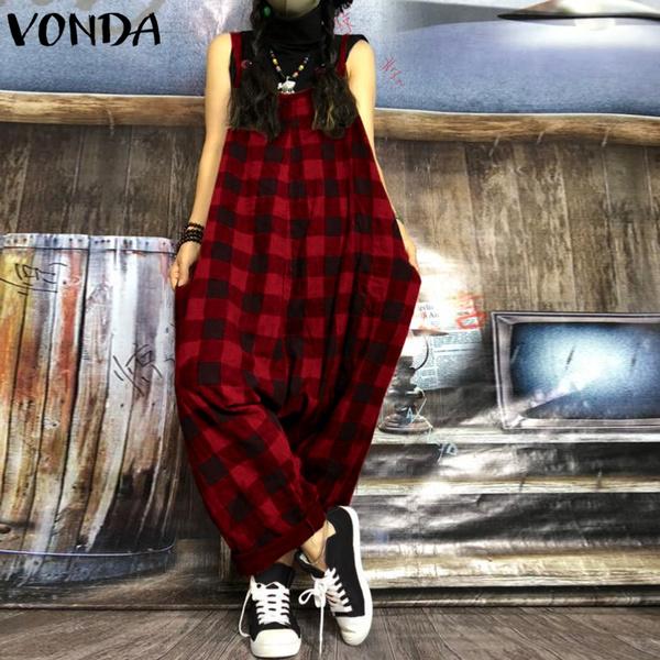fashion women, plaid, pants, Overalls