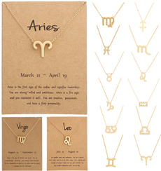 messagecard, goldplated, zodiacnecklace, Fashion
