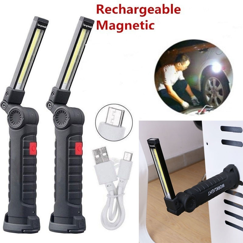 Rechargeable COB LED Magnetic Work Light Inspection Torch Lamp Flexible Cordless