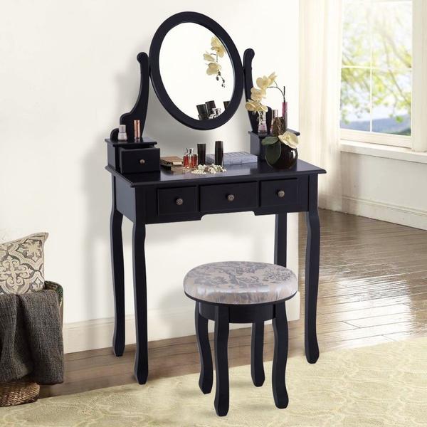 Vintage Bedroom Mirrored Vanity Table Set w/Cushioned Stool & 5Drawers  Furniture