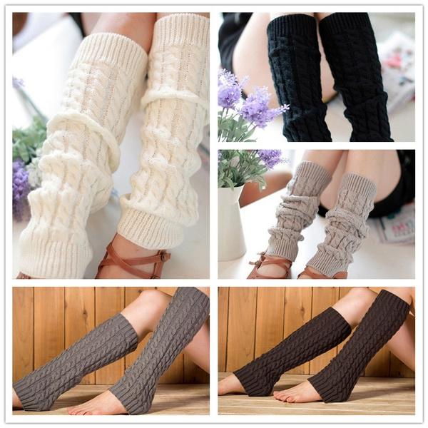 Fashion Women/'s Crochet Knit Winter Wool Leg Warmer Legging Knee High Color Sock