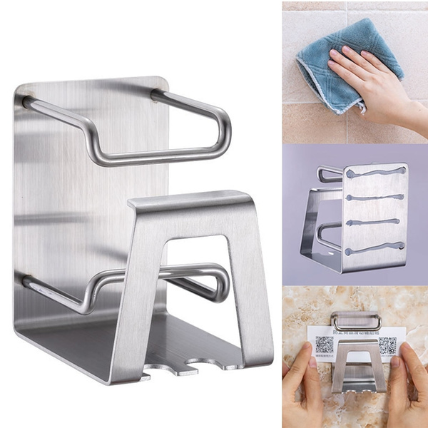 Bathroom Wall Mounted Self-Adhesive Stainless Steel Toothbrush Toothpaste Holder