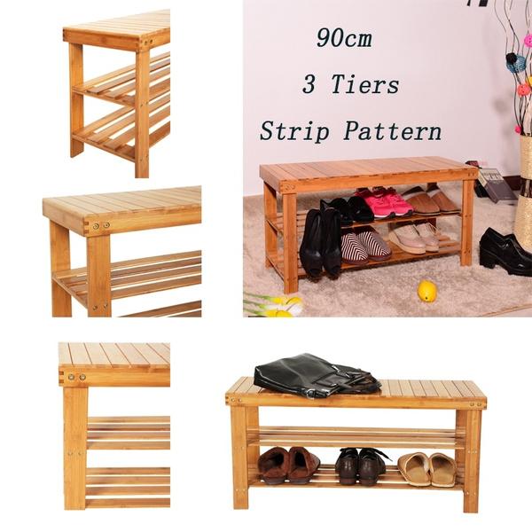 Enjoyable 90Cm 3 Tiers Bamboo Stool Shoe Rack Shoe Storage Bench Seat Organizer Entryway Wood Furniture Shelf Rack Hallway Camellatalisay Diy Chair Ideas Camellatalisaycom