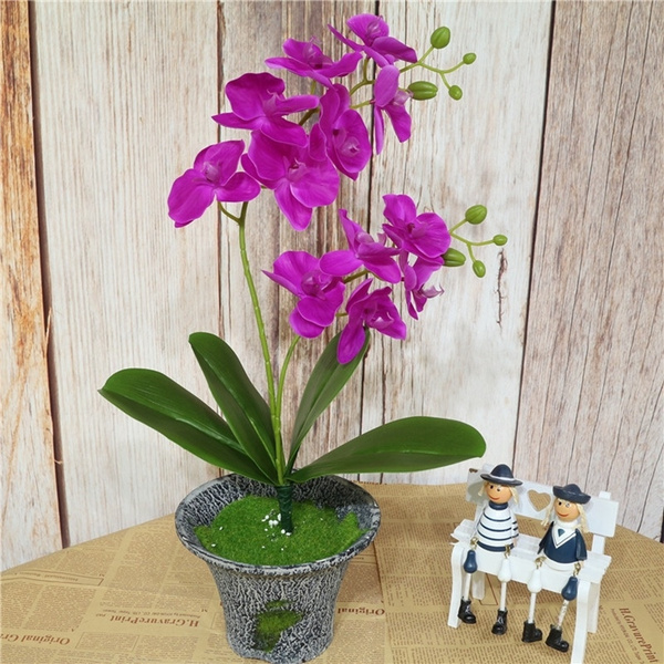 2 Branch Artificial Orchid Flowers Real Touch With Leaves Wedding Decoration Wish