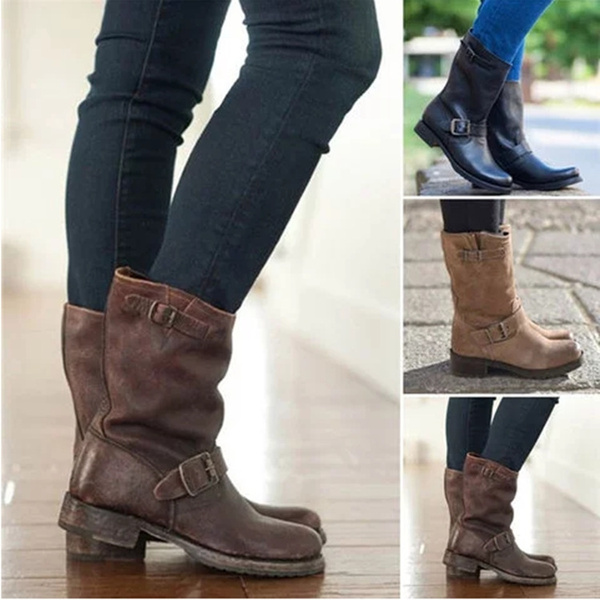 free delivery new products for official supplier Winter New Mid Calf Short Boots Round Toe Oxford Casual Women Boots Ladies  Flats Heels Rain Boots Shoes Women Platform Ankle Boots chaussure femme Big  ...