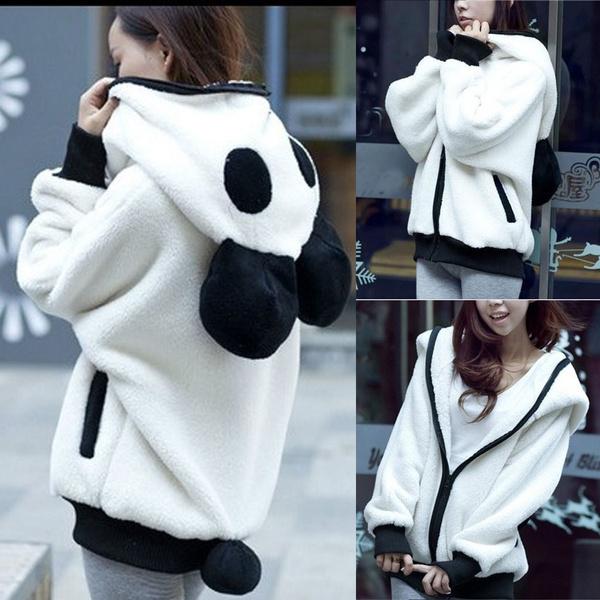 Cute Bear Ear Panda Winter Warm Hoodie Coat Women Hooded Jacket Outerwear Jumper