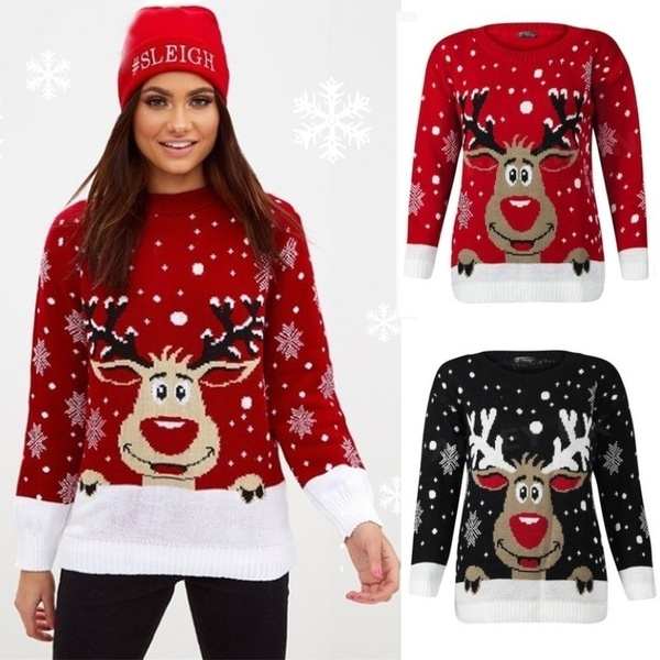 d2eb33f089e New Chic Women Christmas Snowflake Reindeer Jumper Oversized Knit Sweater  Top