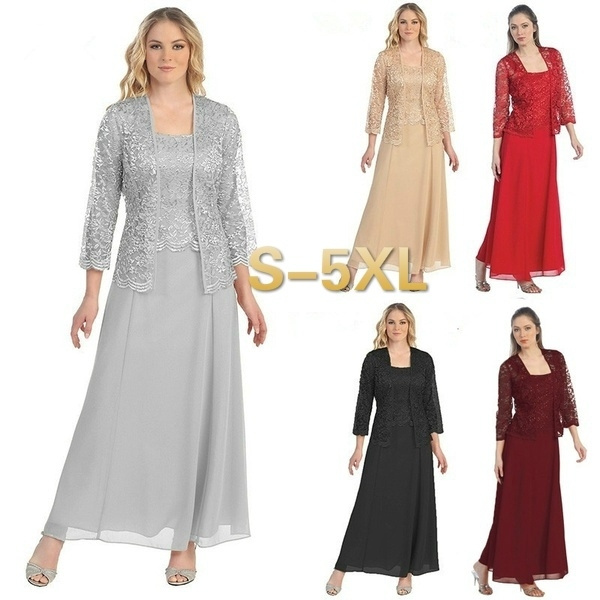 5 Colors Two Pieces Dress Long Sleeve Cardigan Coat Lace Dress Knee Length Mother Of The Bride Dress With Jacket Elegant Fashion Evening Gown Dress
