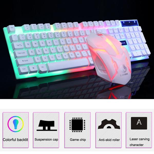 Colorful LED Illuminated Backlit USB Wired PC Rainbow Gaming Keyboard Mice Set U
