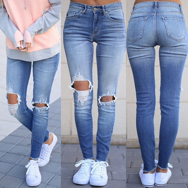 Blues, womenskinnyjean, pants, rippedjean
