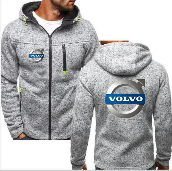 Fashion Men's New Hoodie VOLVO Personality Color Double Zip Hooded Cardigan Slim Fitting