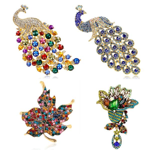 Beautiful, peacock, brooches, Jewelry