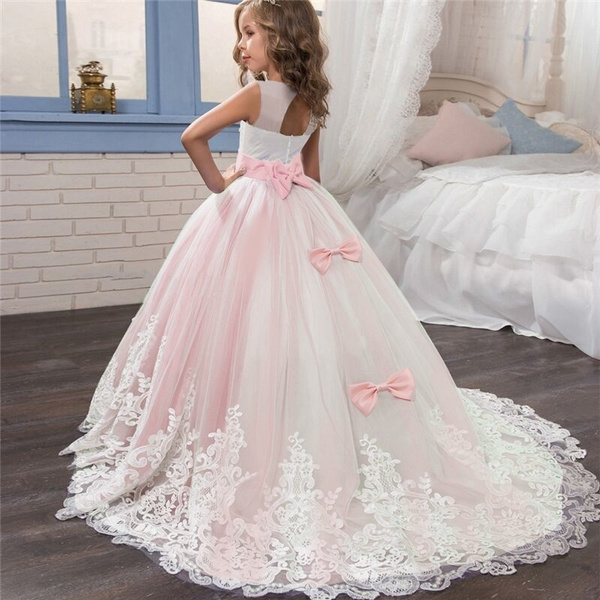 Girl Trailing Lace Flower Rhinestone Dress Kids First Communion Gown  Princess Wedding Party Dresses Kid Girl Prom Party Dress