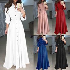 pilecollar, slim, long dresses, ladies clothes