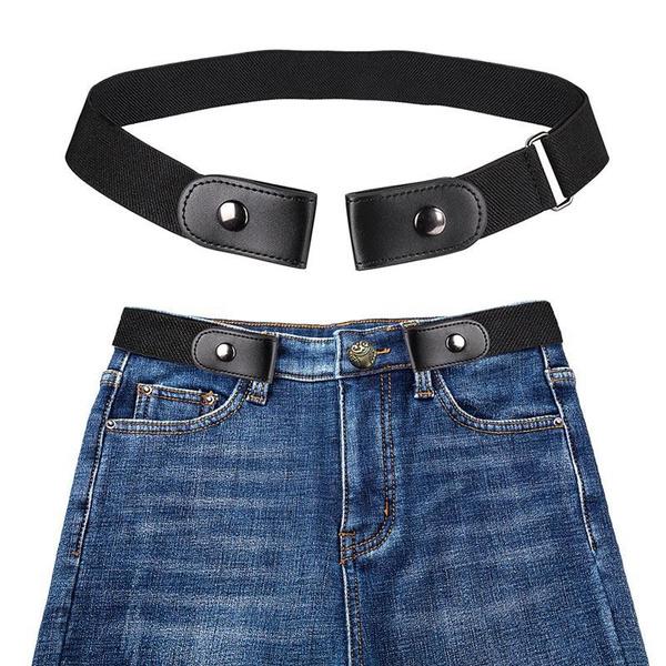 Fashion Men Women Buckle-Free Elastic Belt Adjustable Leather Waistband