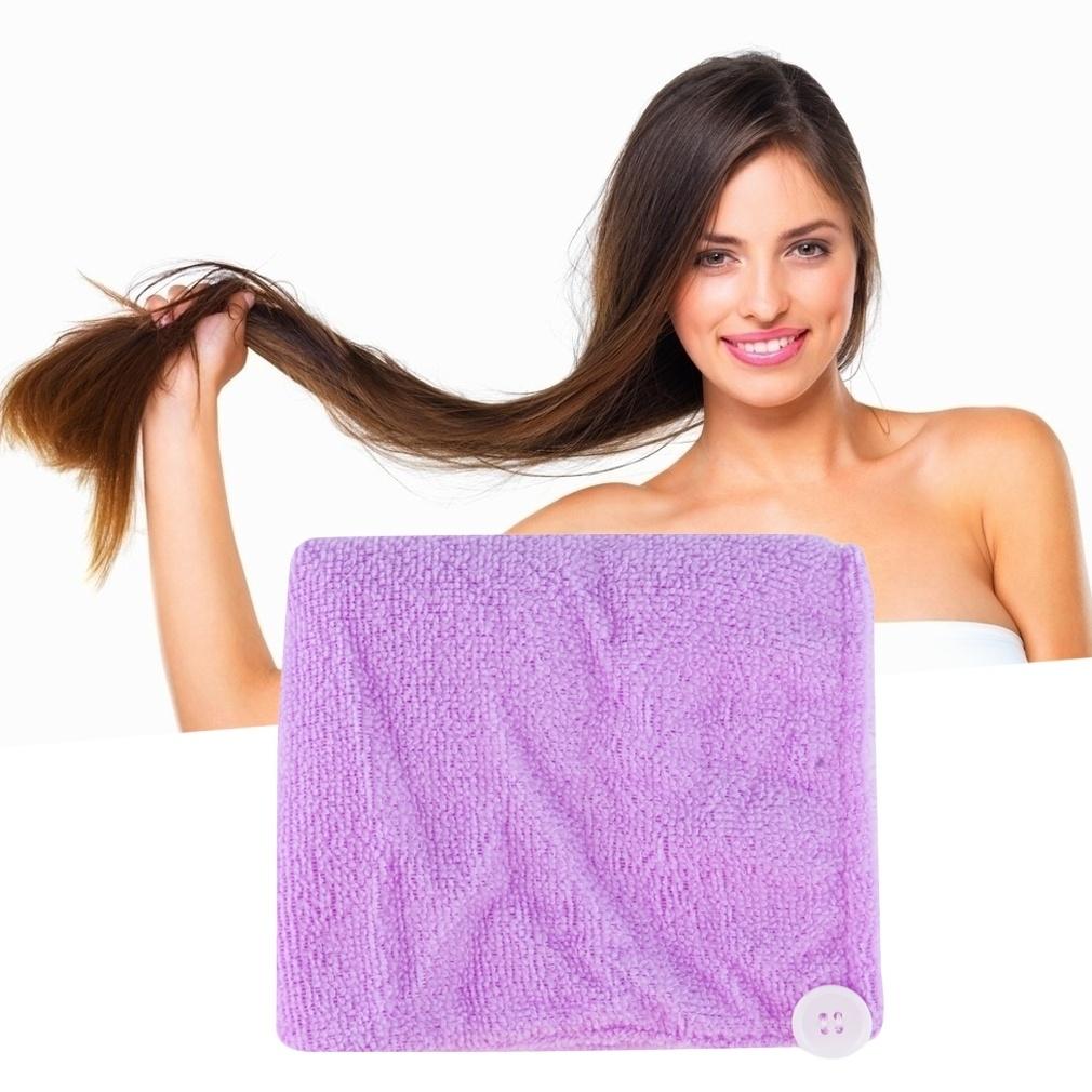 Микроволокно после душа волосы сушки обертки полотенце быстро сухие волосы шляпа тюрбан (случайный цвет)