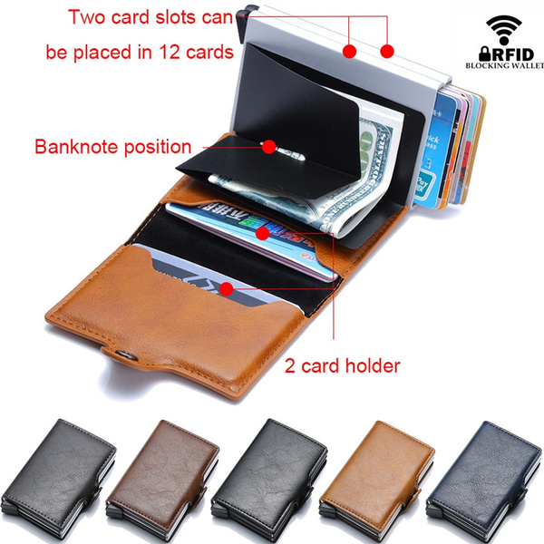 super popular 15580 0ab69 Top Quality Rfid Blocking Credit Card Holder Wallet Men Women Mini Purse  Male Aluminium Business id Card Holder Wallet Small Smart Wallet creditcard  ...