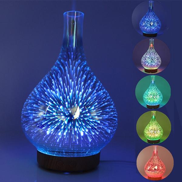 3d Fireworks Led Night Light Air Humidifier Glass Vase Shape Aroma Essential Oil Diffuser Mist Maker Ultrasonic Humidifier Gift Household Appliances