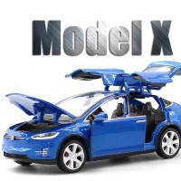 1:32 Tesla Model X 90D SUV Metall Modellauto Auto Spielzeug Model Weiß Pull Back