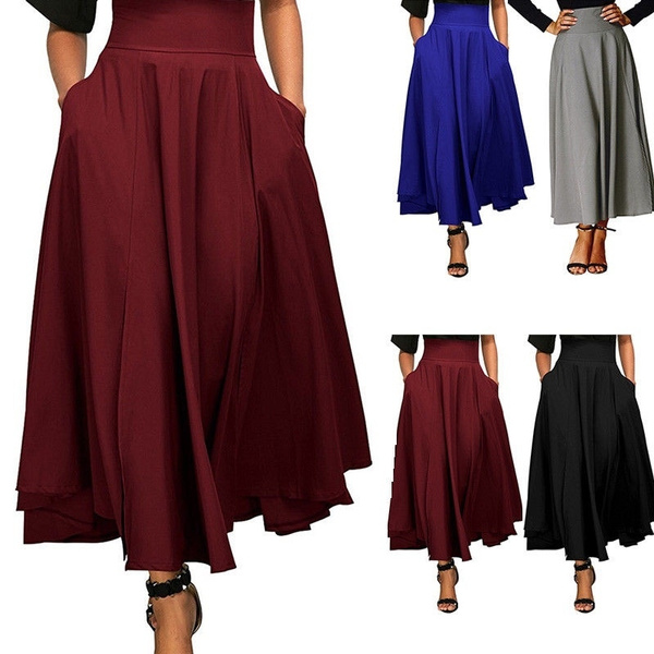 long skirt, Fashion, high waist, frontslitbelted