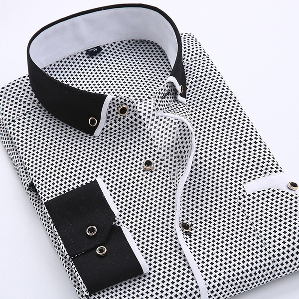 Turn-down Collar, men shirt, Plus Size, Cotton Shirt